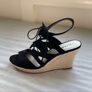 Ana Black faux suede strapped wedge espadrilles.
